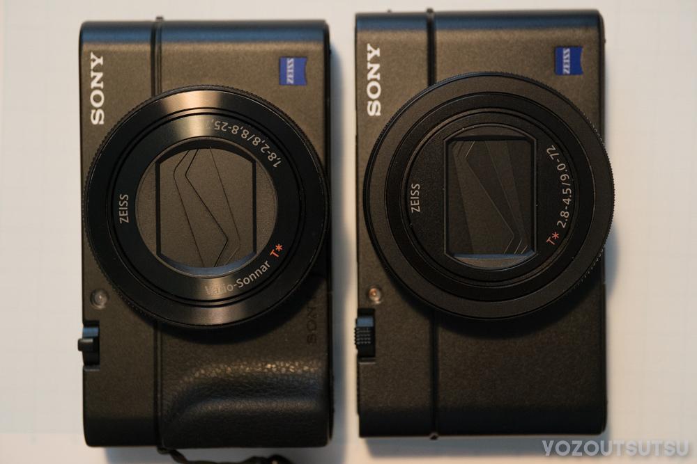 RX100M4とRX100M6を並べる。